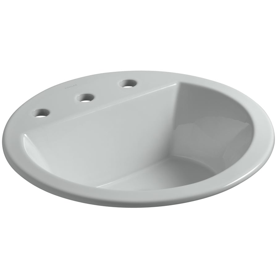Shop KOHLER Bryant Ice Grey Drop-in Round Bathroom Sink ...