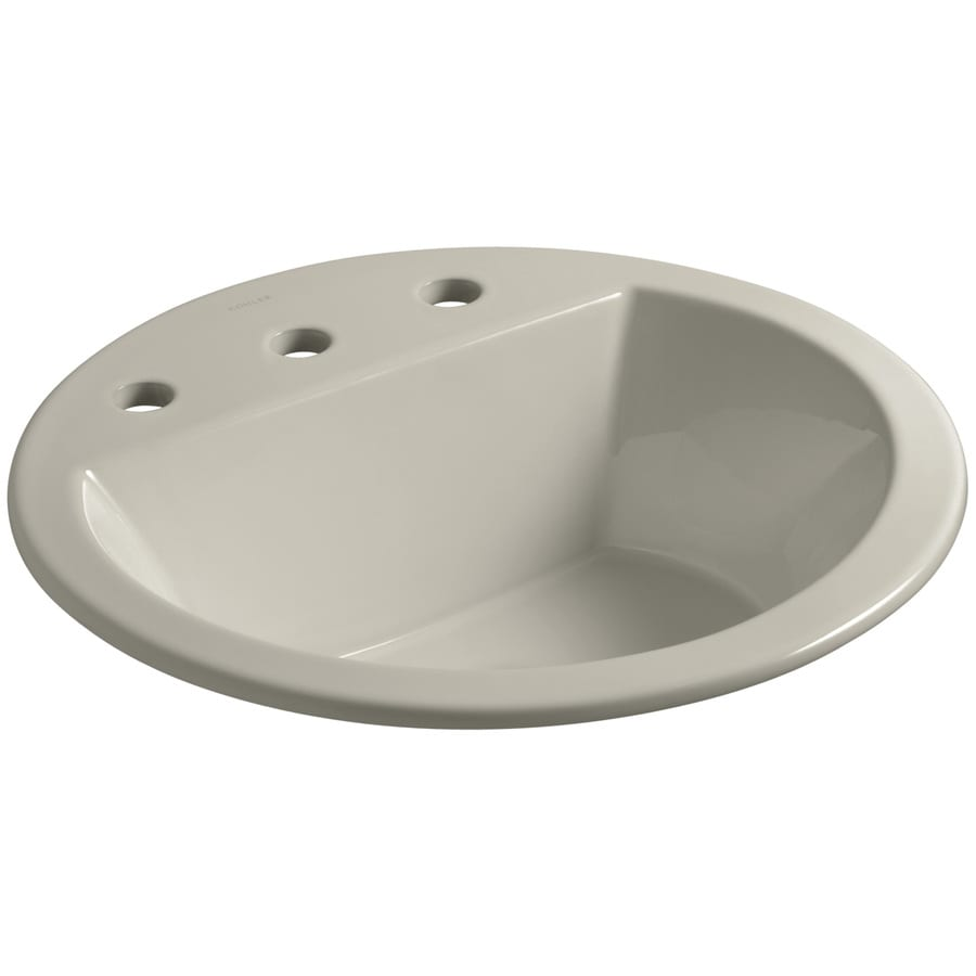 KOHLER Bryant Sandbar Drop-in Round Bathroom Sink with Overflow