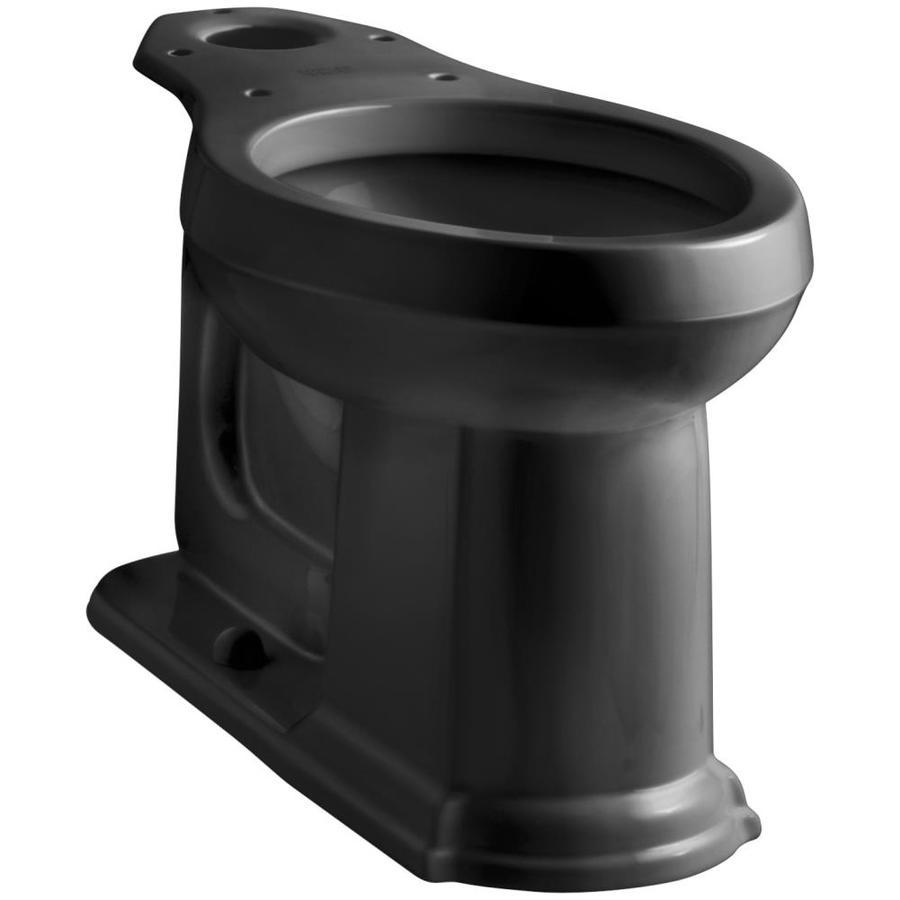 KOHLER Devonshire Chair Height Black Black 12-in Rough-In Elongated Toilet Bowl