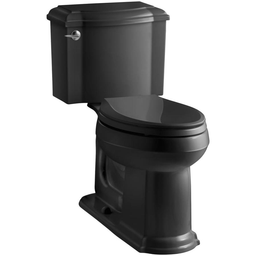KOHLER Devonshire 1.28-GPF Black Black WaterSense Elongated Chair Height 2-Piece Toilet