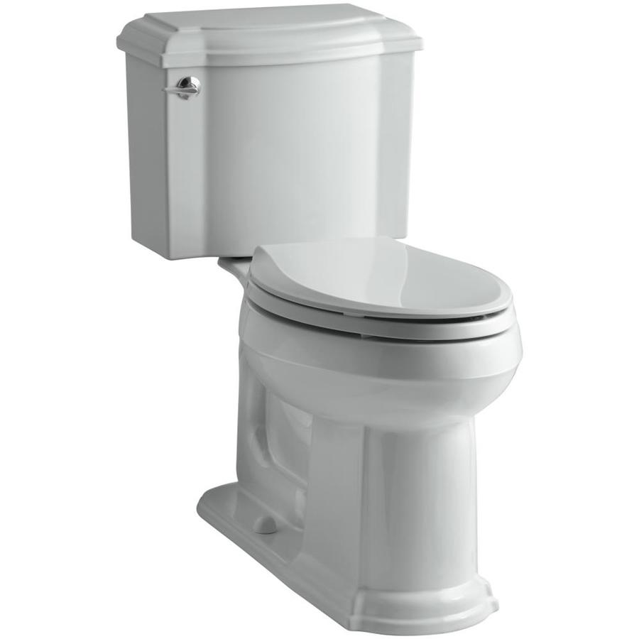 KOHLER Devonshire Ice Grey 1.28-GPF (4.85-LPF) 12 Rough-In WaterSense Elongated 2-Piece Chair Height Toilet
