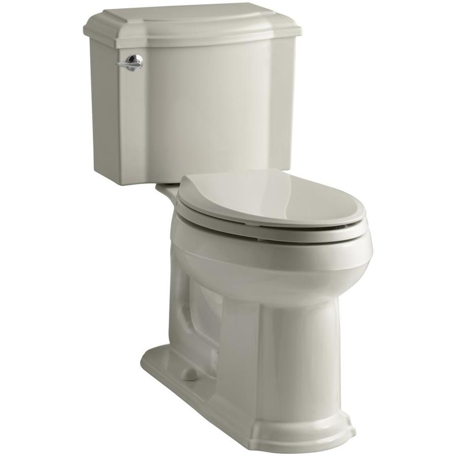 KOHLER Devonshire 1.28-GPF (4.85-LPF) Sandbar WaterSense Elongated Chair Height 2-Piece Toilet