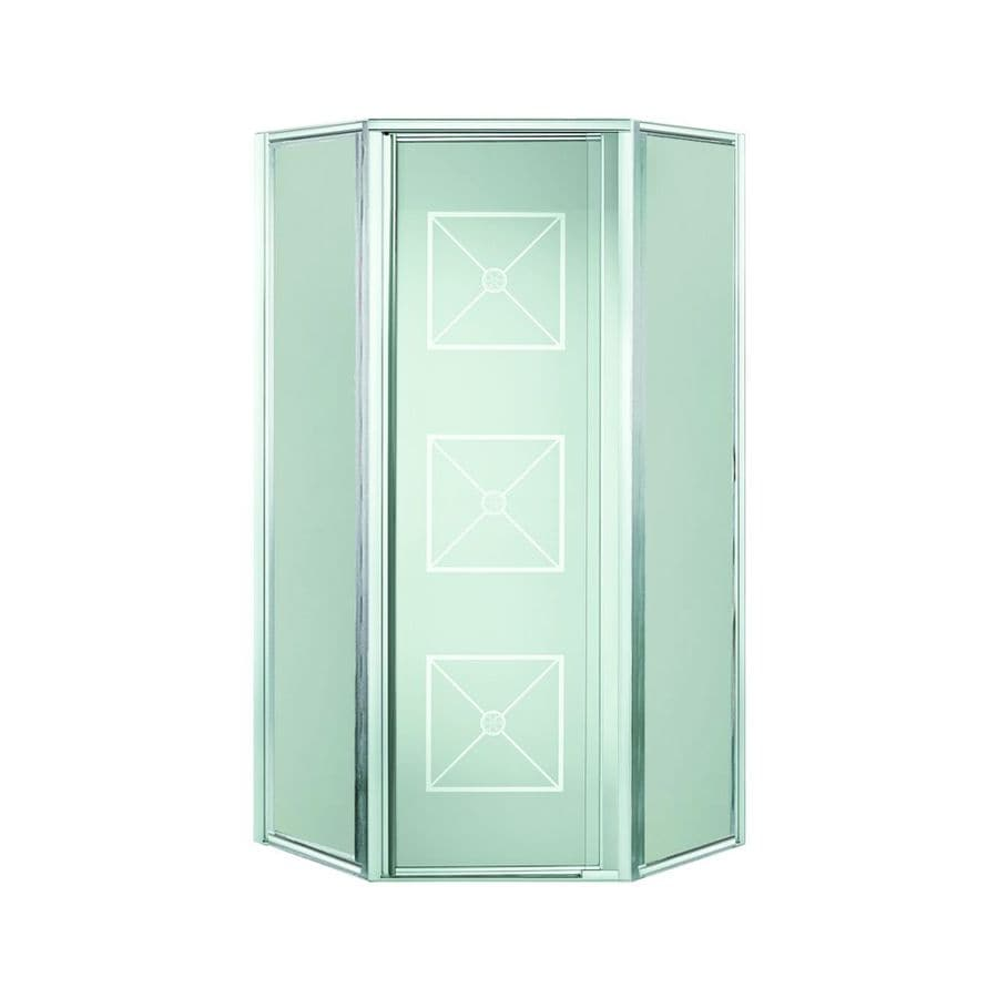 Sterling Intrigue 23-in to 27.5625-in W Framed Silver Hinged Shower Door