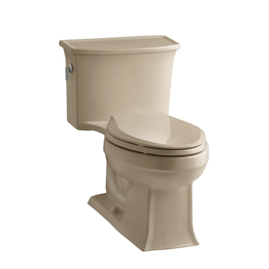 KOHLER Archer Mexican sand WaterSense Labeled  Elongated Chair Height 1-piece Toilet 12-in Rough-In Size