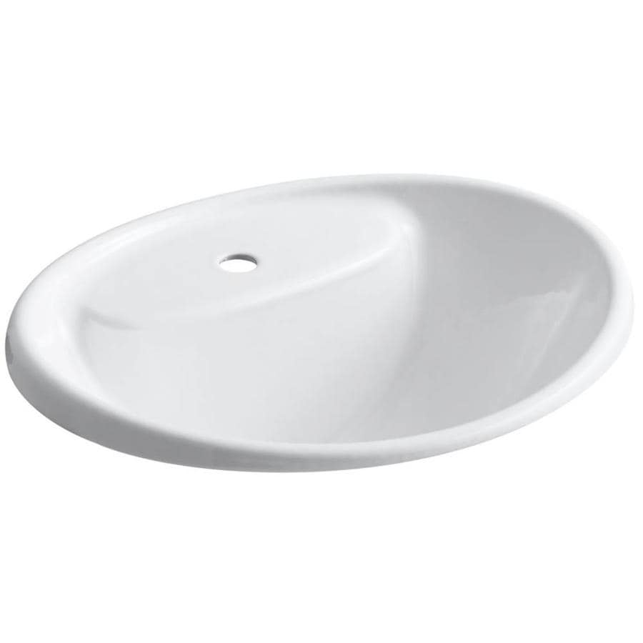 KOHLER Tides White Cast Iron Drop-in Oval Bathroom Sink with Overflow