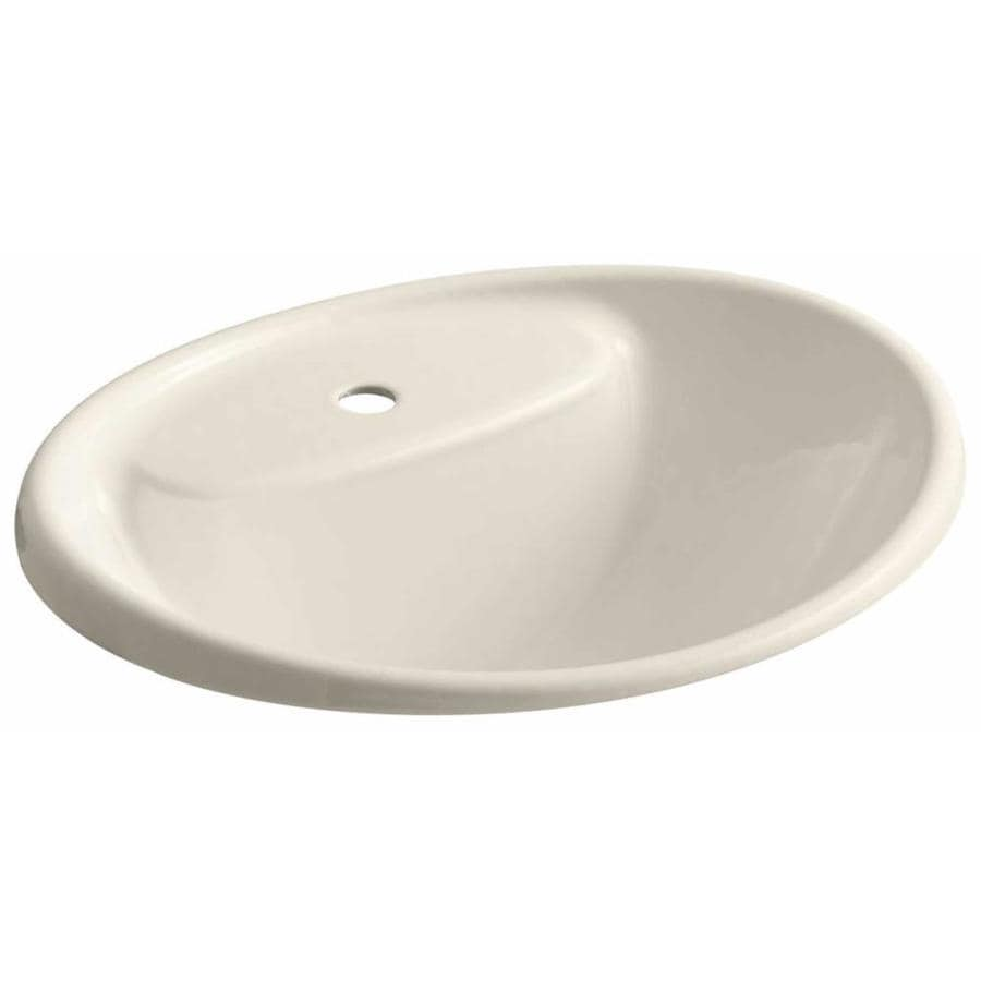 KOHLER Tides Almond Cast Iron Drop-in Oval Bathroom Sink with Overflow