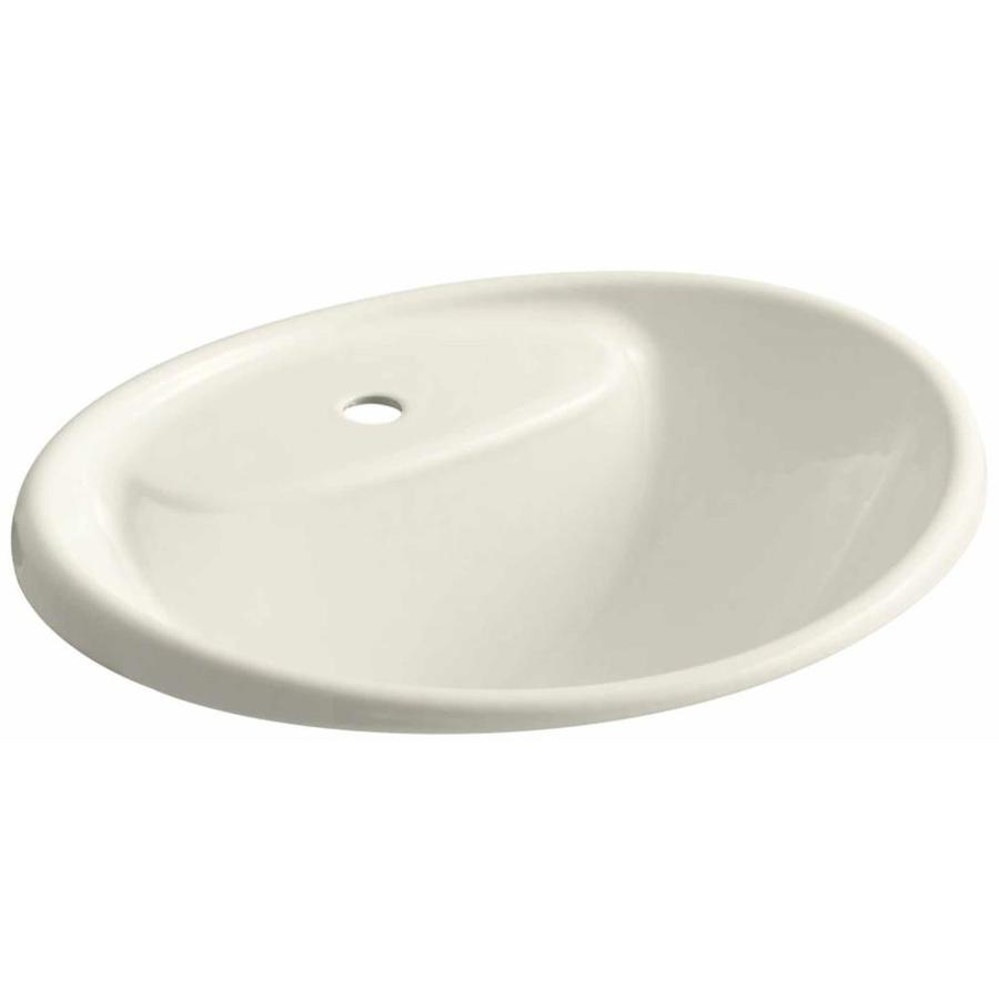 KOHLER Tides Biscuit Cast Iron Drop-in Oval Bathroom Sink with Overflow