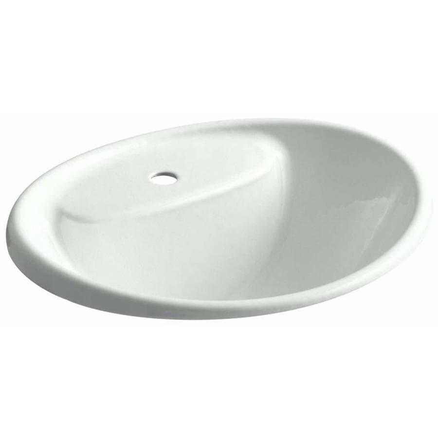 KOHLER Tides Sea Salt Cast Iron Drop-in Oval Bathroom Sink with Overflow