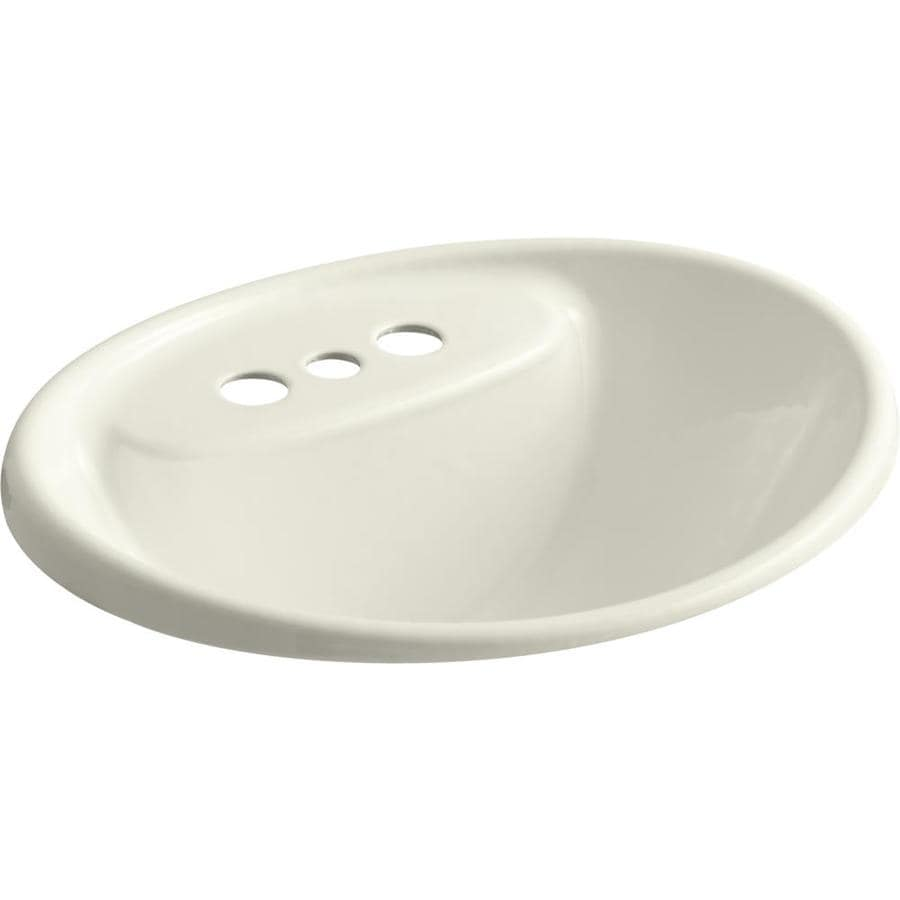 KOHLER Tides Ice Grey Cast Iron Drop-in Oval Bathroom Sink with Overflow