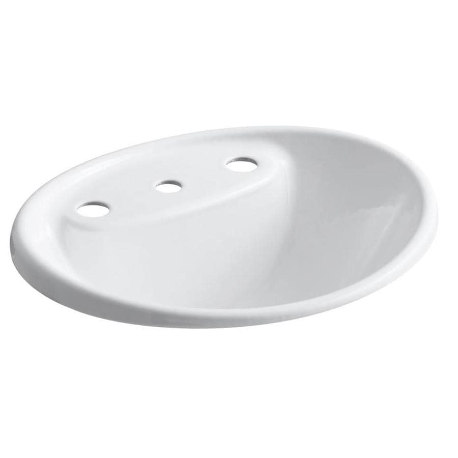 Shop kohler tides white cast iron drop in oval bathroom for Cast iron sink manufacturers