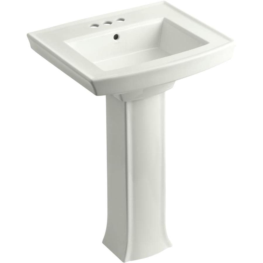 Shop KOHLER Archer 35.25-in H Dune Vitreous China Pedestal Sink at ...