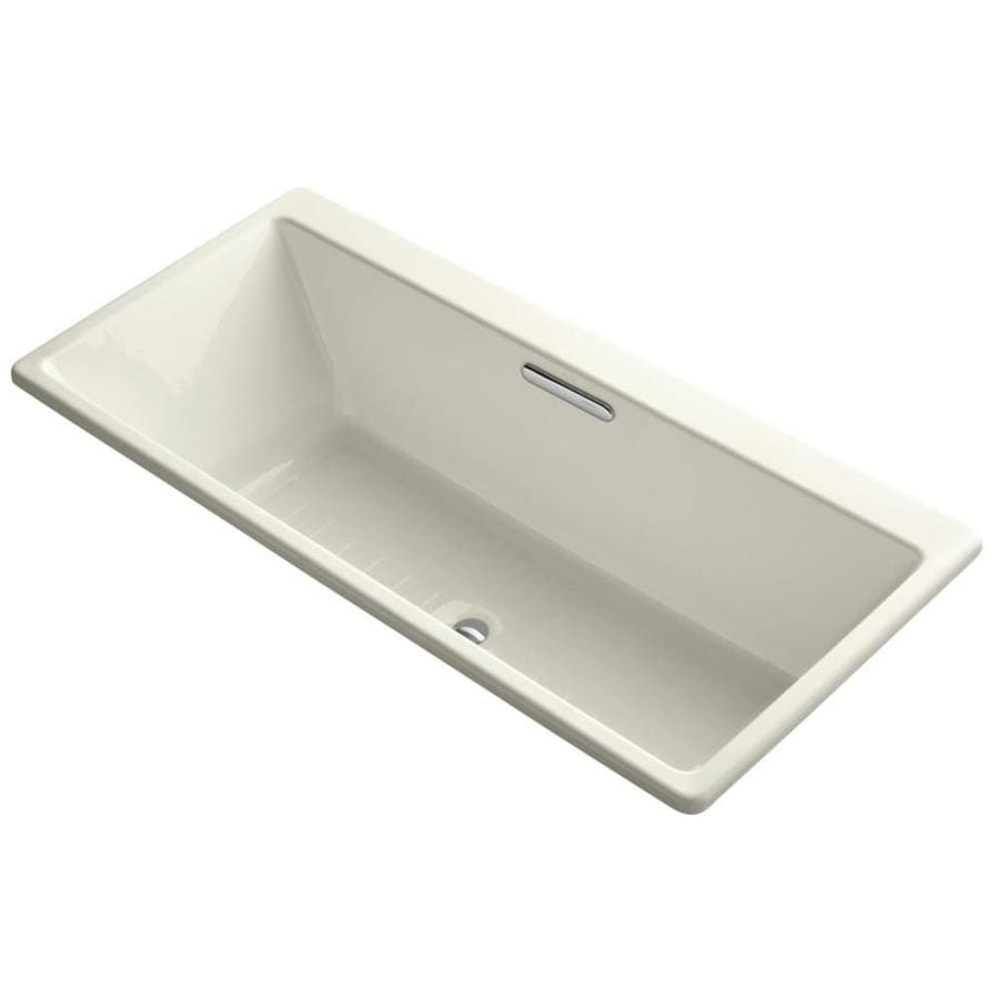 KOHLER Reve 66.9375-in Biscuit Cast Iron Drop-In Bathtub with Center Drain