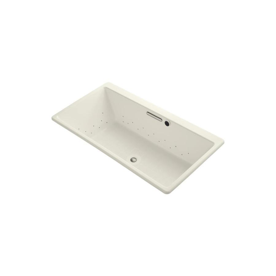 KOHLER Reve 66.9375-in L x 36-in W x 19.0625-in H Biscuit Acrylic Rectangular Drop-In Air Bath