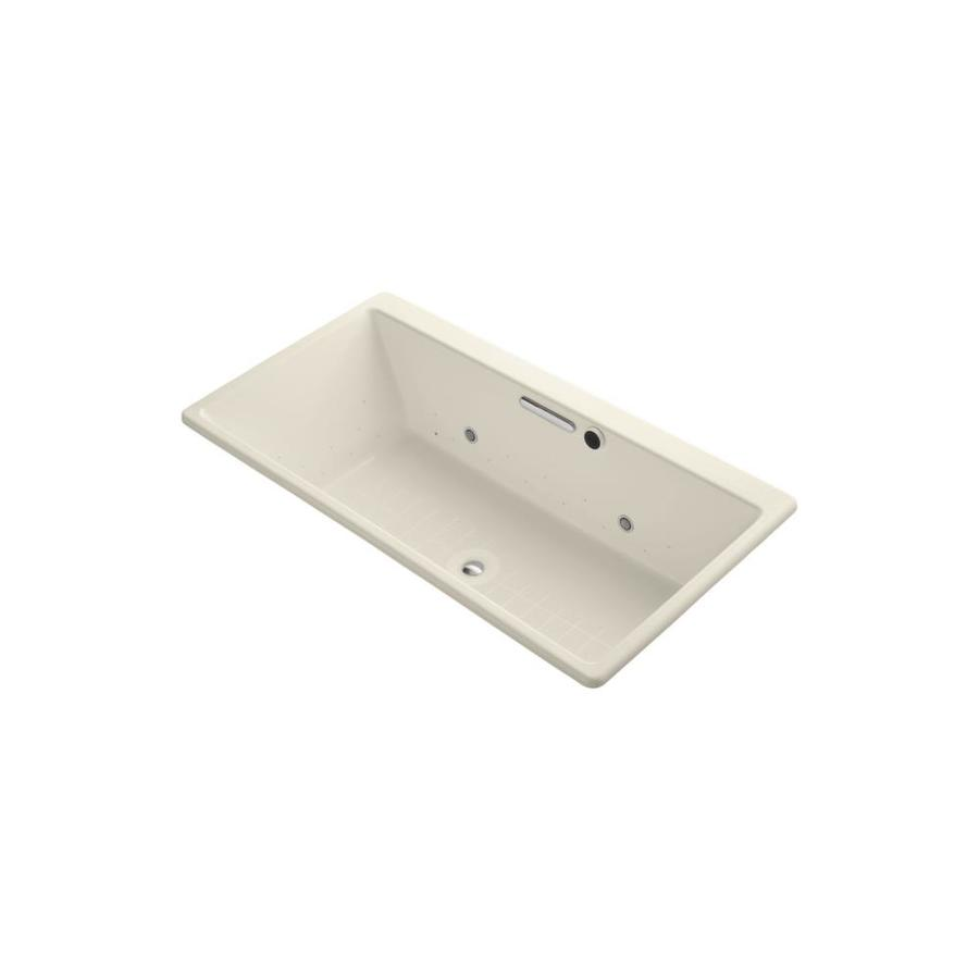 KOHLER Reve 66.9375-in L x 36-in W x 19.0625-in H Almond Acrylic Rectangular Drop-In Air Bath