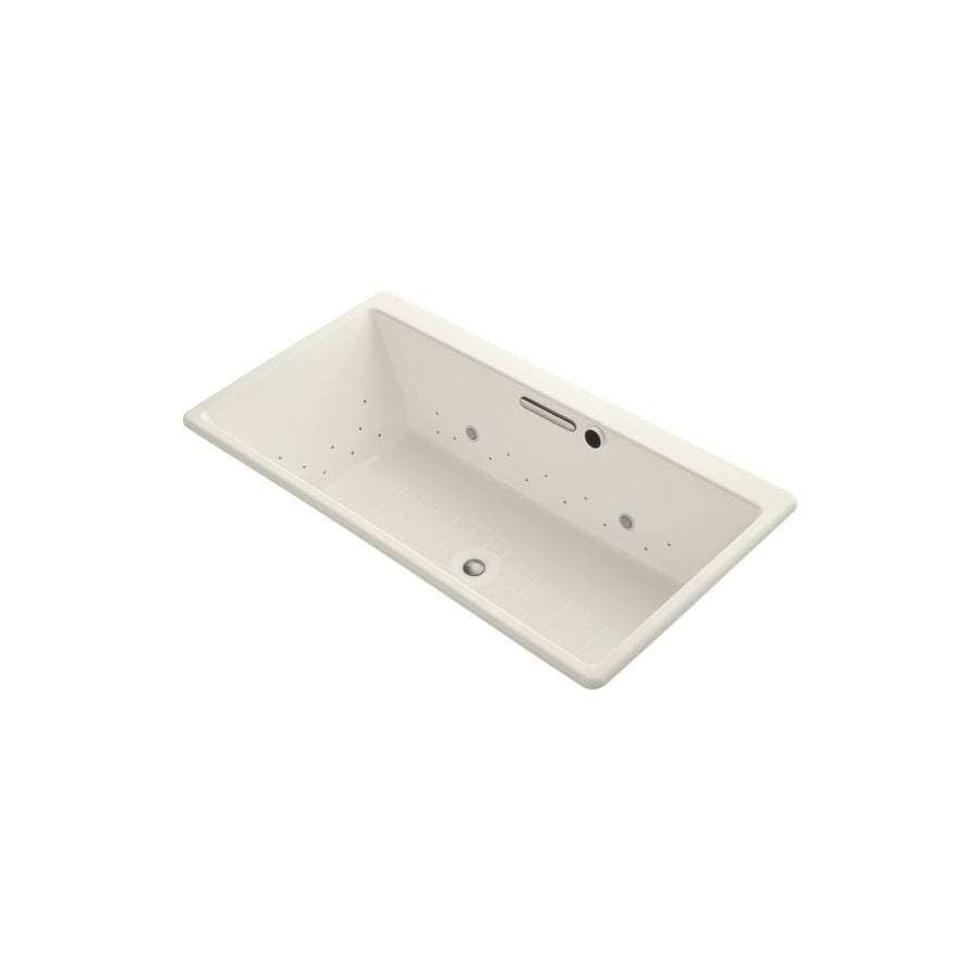 KOHLER Reve 66.9375-in L x 36-in W x 19.0625-in H Biscuit Acrylic Rectangular Drop-In Air Bath