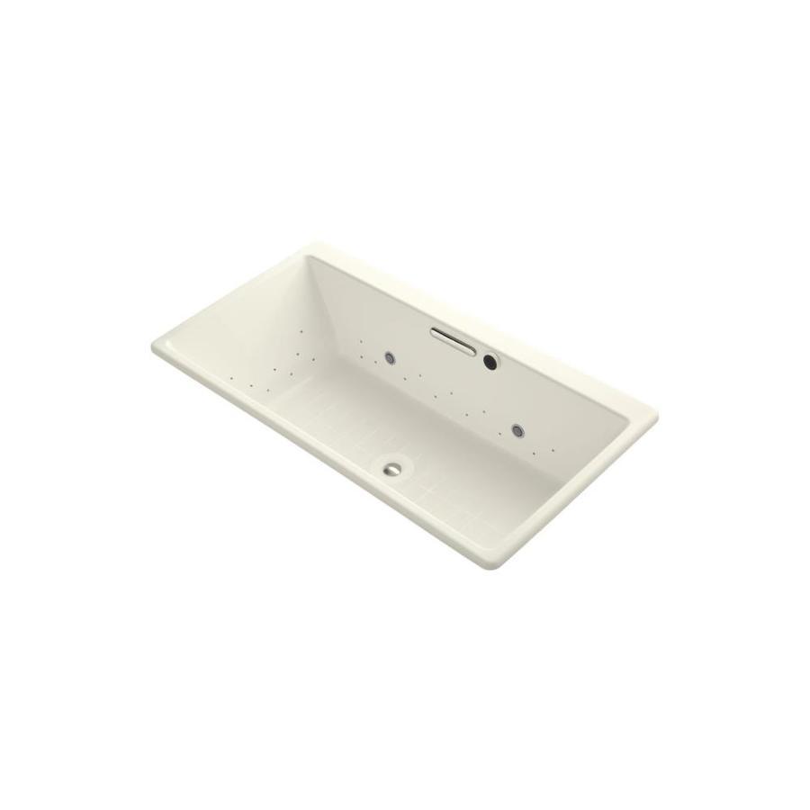 KOHLER Reve 66.9375-in L x 36.0000-in W x 19.0625-in H Biscuit Acrylic Rectangular Drop-in Air Bath
