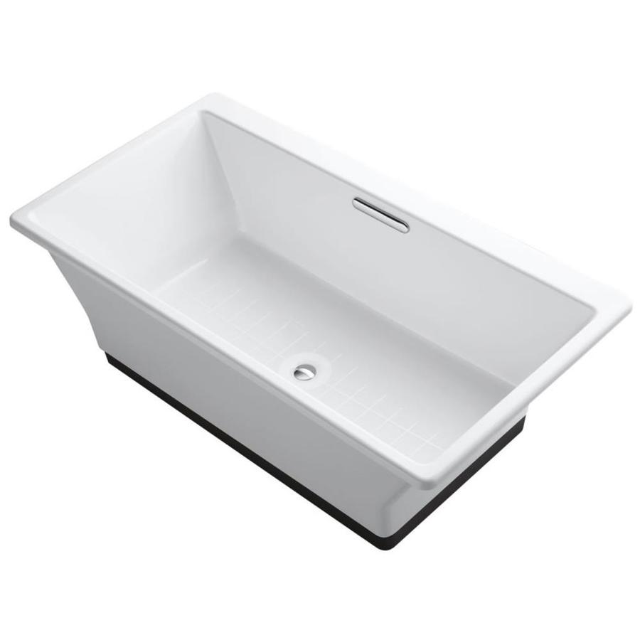 Kohler rve 66 9375 in white cast iron rectangular center drain freestanding bathtub