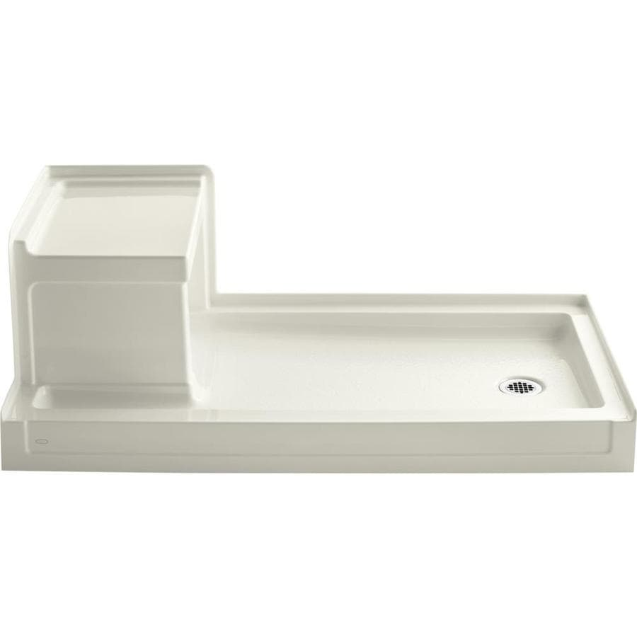 KOHLER Tresham Biscuit Acrylic Shower Base (Common: 32-in W x 60-in L; Actual: 32-in W x 60-in L)