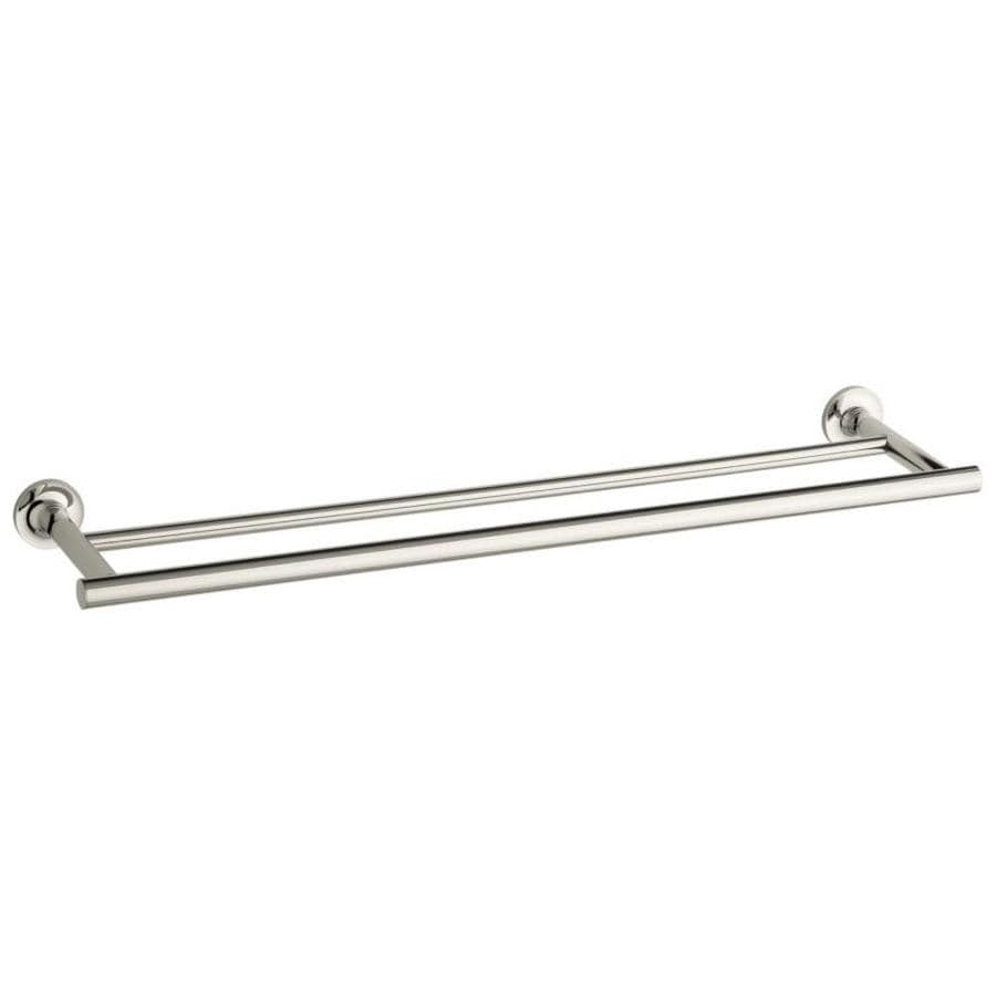 KOHLER Purist Vibrant Polished Nickel Double Towel Bar (Common: 24-in Double; Actual: 24.9375-in)