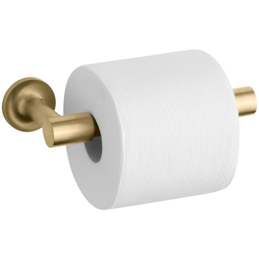 KOHLER Purist Vibrant Moderne Brushed Gold Surface Mount Pivot Toilet Paper Holder