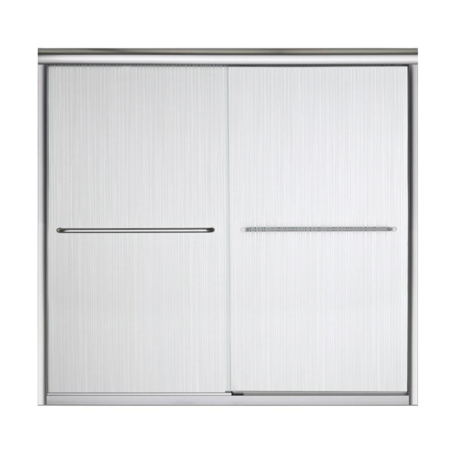 Sterling Finesse 59.625-in W x 55.5-in H Silver Frameless Bathtub Door