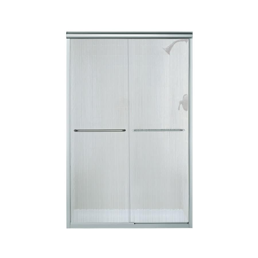 Sterling Finesse 42.625-in to 47.625-in W Frameless Silver Sliding Shower Door