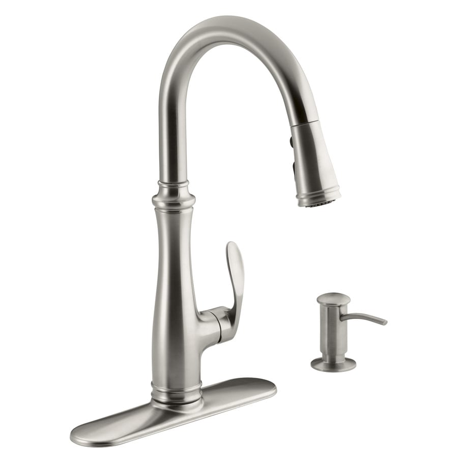 Kohler Kitchen Faucets shop kohler bellera stainless steel 1-handle pull-down kitchen