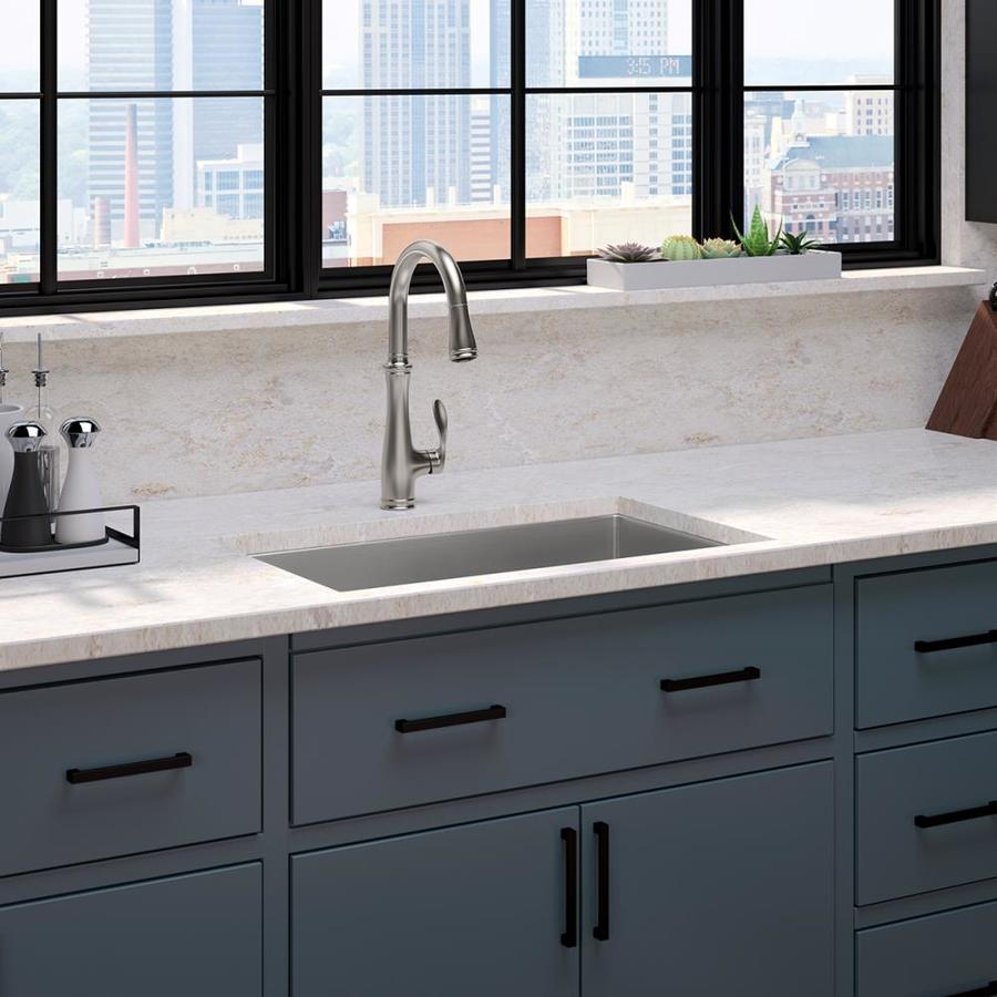 Kohler Bellera Vibrant Stainless 1 Handle Deck Mount Pull Down Handle Kitchen Faucet Deck Plate Included In The Kitchen Faucets Department At Lowes Com