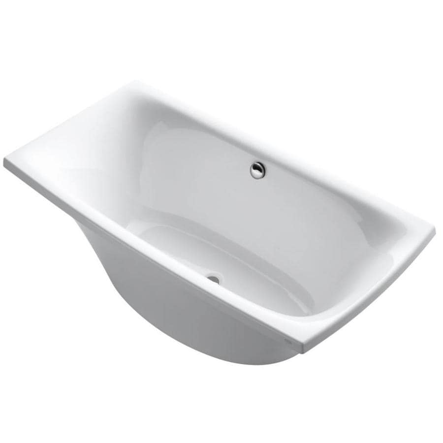 KOHLER Escale White Acrylic Rectangular Freestanding Bathtub with Center Drain (Common: 36-in x 72-in; Actual: 24.125-in x 36-in x 72-in)