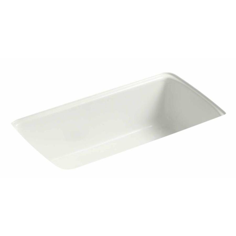 KOHLER 22-in x 33-in Dune Double-Basin Cast Iron Undermount Residential Kitchen Sink