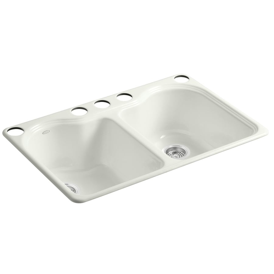 KOHLER Hartland 22-in x 33-in Dune Double-Basin Cast Iron Undermount 5-Hole Residential Kitchen Sink