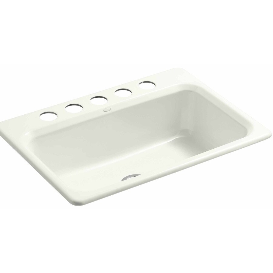 KOHLER 22-in x 31-in Dune Single-Basin Cast Iron Undermount 5-Hole Residential Kitchen Sink