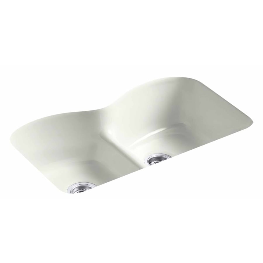 KOHLER 22-in x 33-in Dune Double-Basin Cast Iron Undermount 6-Hole Residential Kitchen Sink