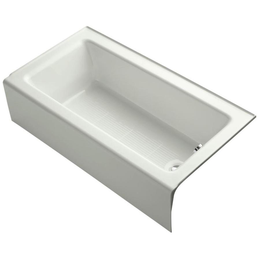 kohler bellwether dune cast iron rectangular alcove bathtub with right