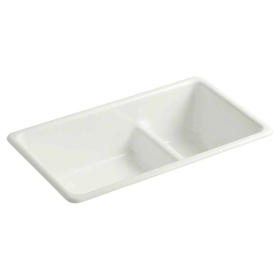 KOHLER 18.75-in x 33-in Dune Single-Basin-Basin Cast Iron Undermount (Customizable)-Hole Residential Kitchen Sink