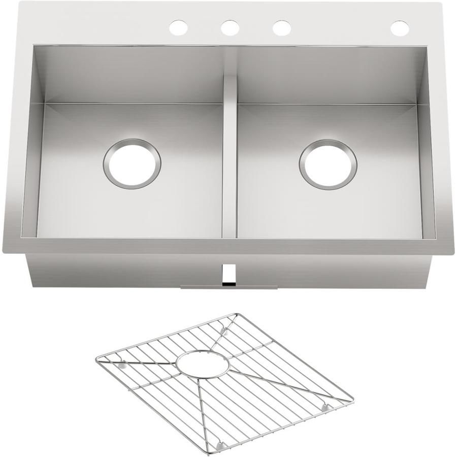 KOHLER Vault 22-in x 33-in Double-Basin Stainless Steel Drop-in 4-Hole Residential Kitchen Sink