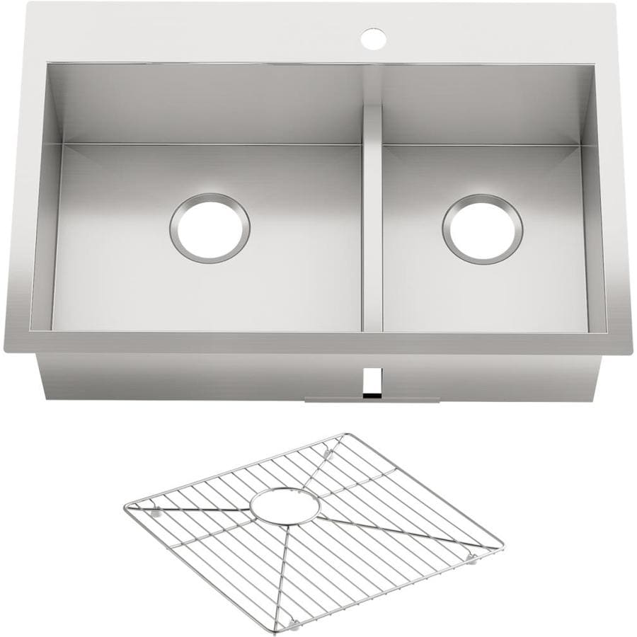 Shop KOHLER Vault 22-in x 33-in Stainless Steel Double-Basin Drop-in ...