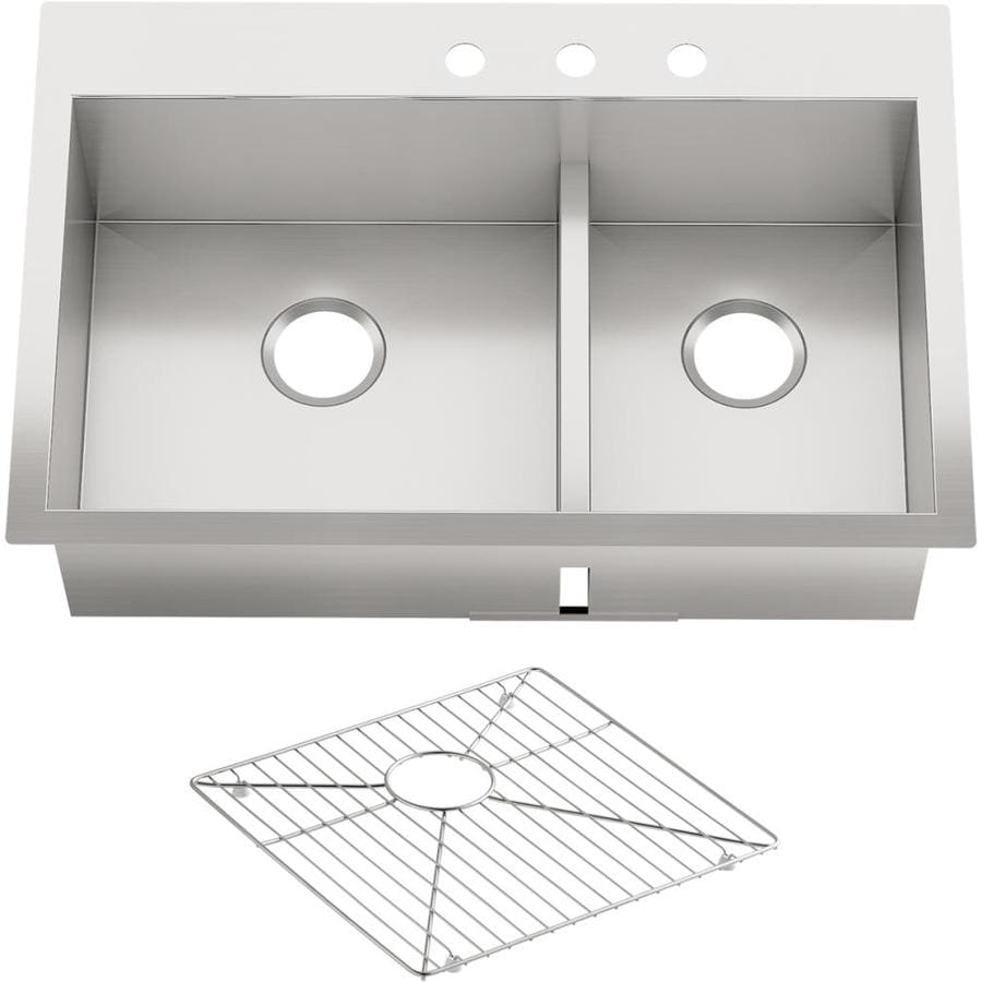 KOHLER 22-in x 33-in Double-Basin Stainless Steel Undermount 3-Hole Residential Kitchen Sink
