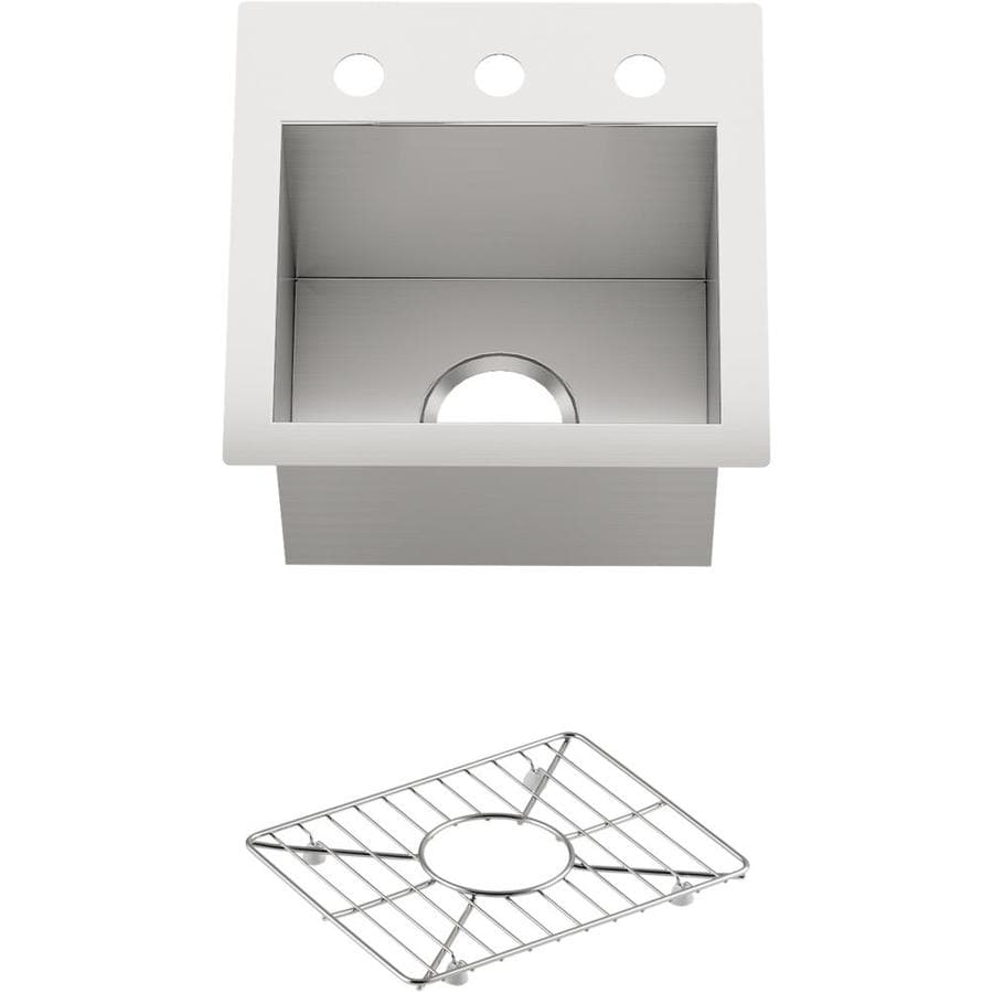 KOHLER 15-in x 15-in Stainless Steel Single-Basin-Basin Stainless Steel Undermount 3-Hole Residential Kitchen Sink
