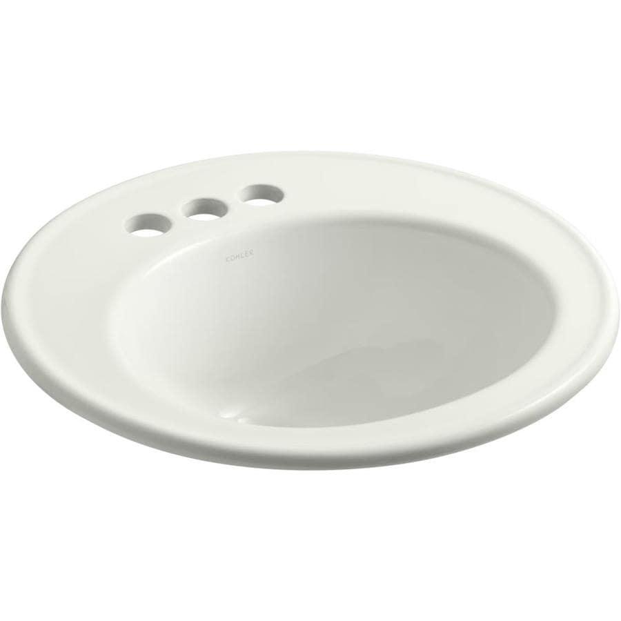 KOHLER Brookline Dune Drop-in Round Bathroom Sink with Overflow