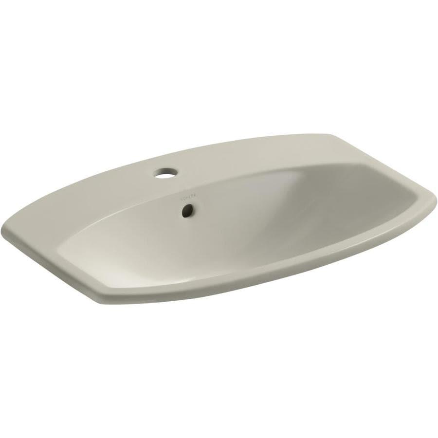 KOHLER Cimarron Dune Drop-in Rectangular Bathroom Sink with Overflow