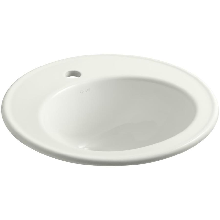 KOHLER Brookline Dune Drop-in Round Bathroom Sink with Overflow