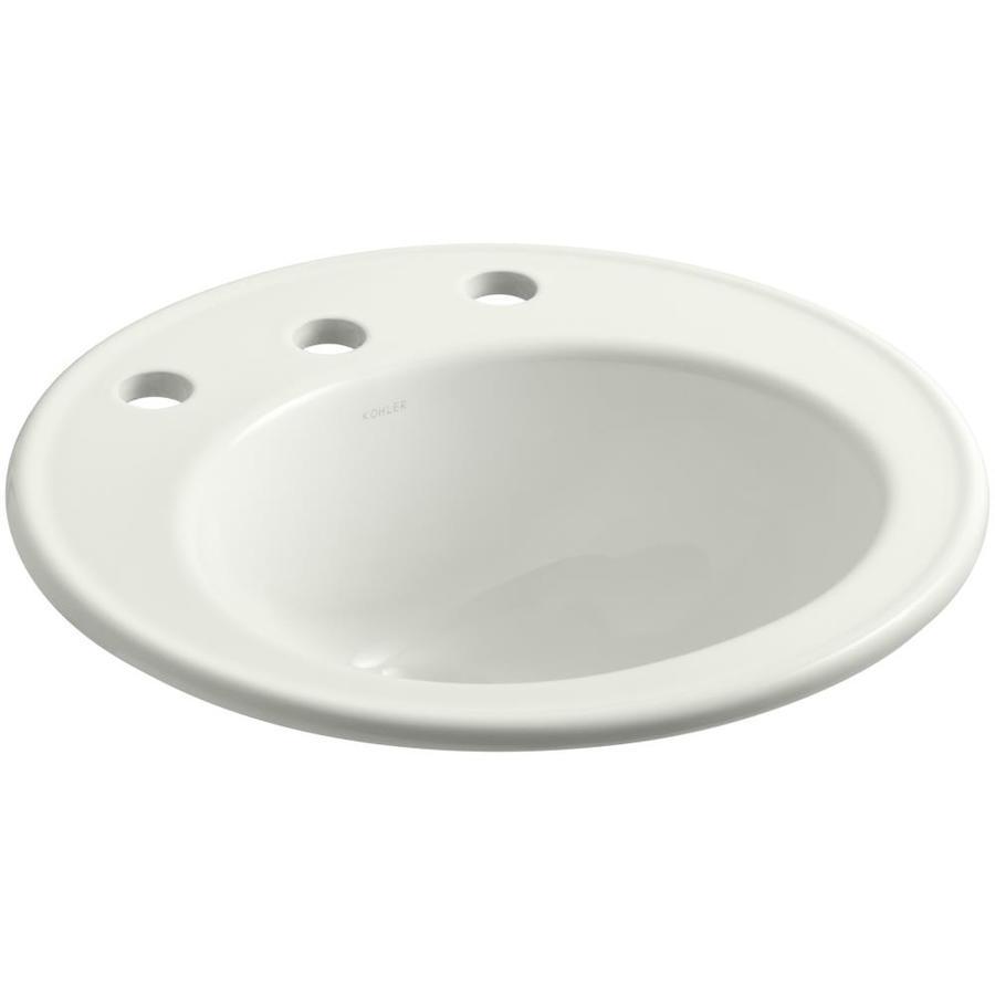 Shop kohler brookline dune drop in round bathroom sink for Kohler round bathroom sinks