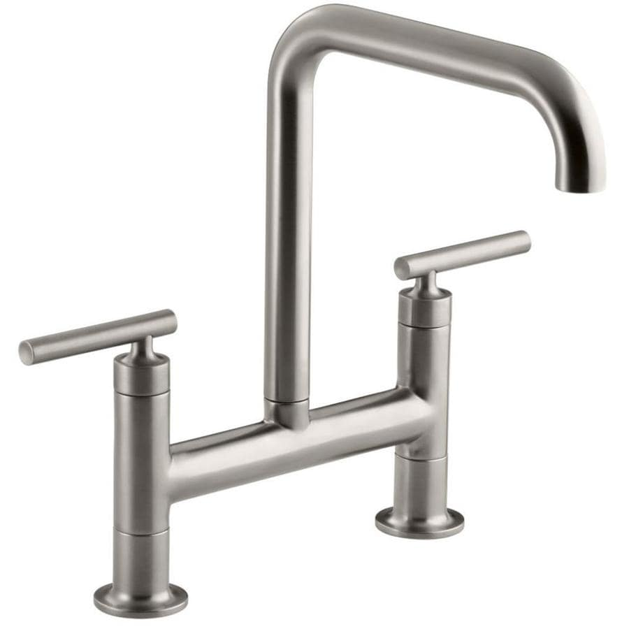 KOHLER Purist Vibrant Stainless 2-Handle High-Arc Kitchen Faucet