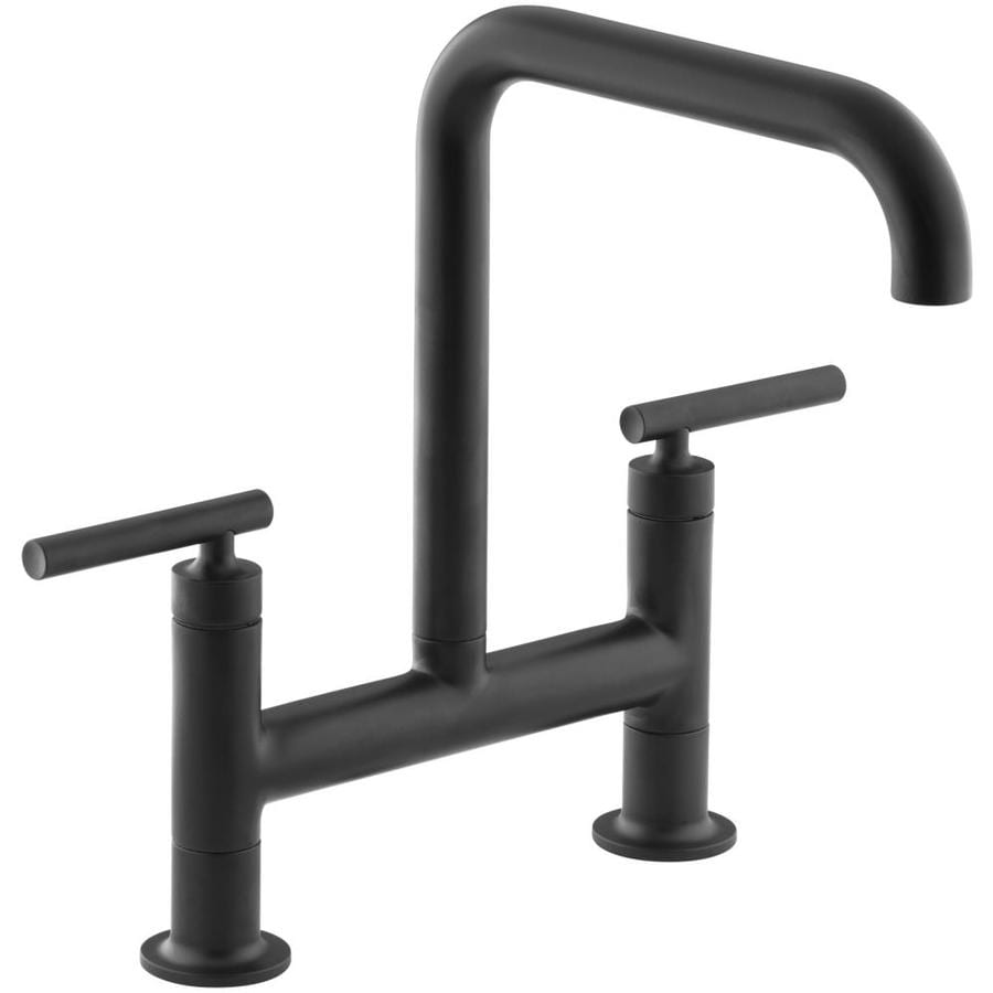 Shop Kohler Purist Matte Black 2 Handle High Arc Kitchen Faucet At