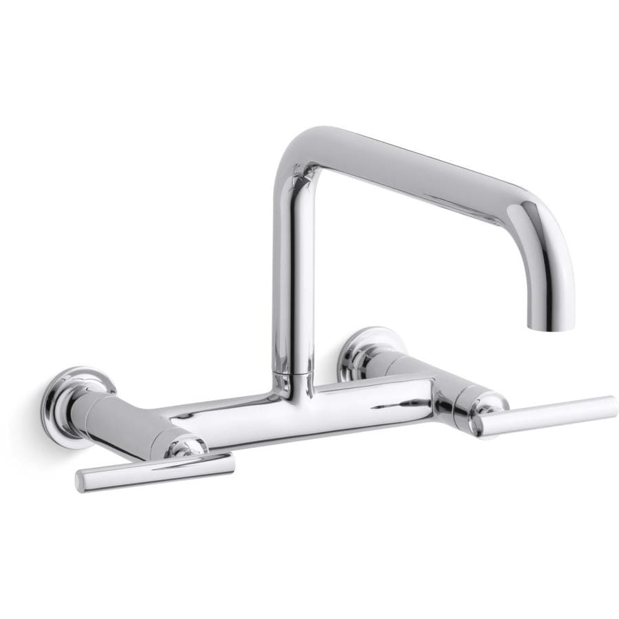 KOHLER Purist Polished Chrome 2-Handle Wall Mount Pot Filler Kitchen Faucet Kitchen Faucet
