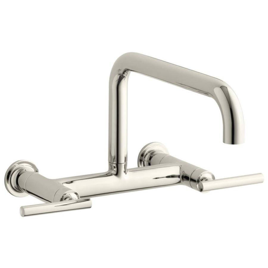KOHLER Purist Vibrant Polished Nickel 2-Handle Pot Filler Wall Mount Kitchen Faucet