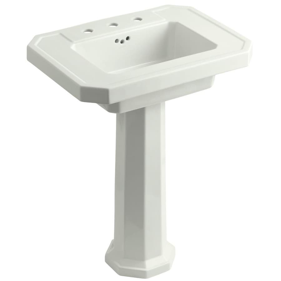 Shop KOHLER Kathryn 35-in H Dune Fire Clay Pedestal Sink at Lowes.com
