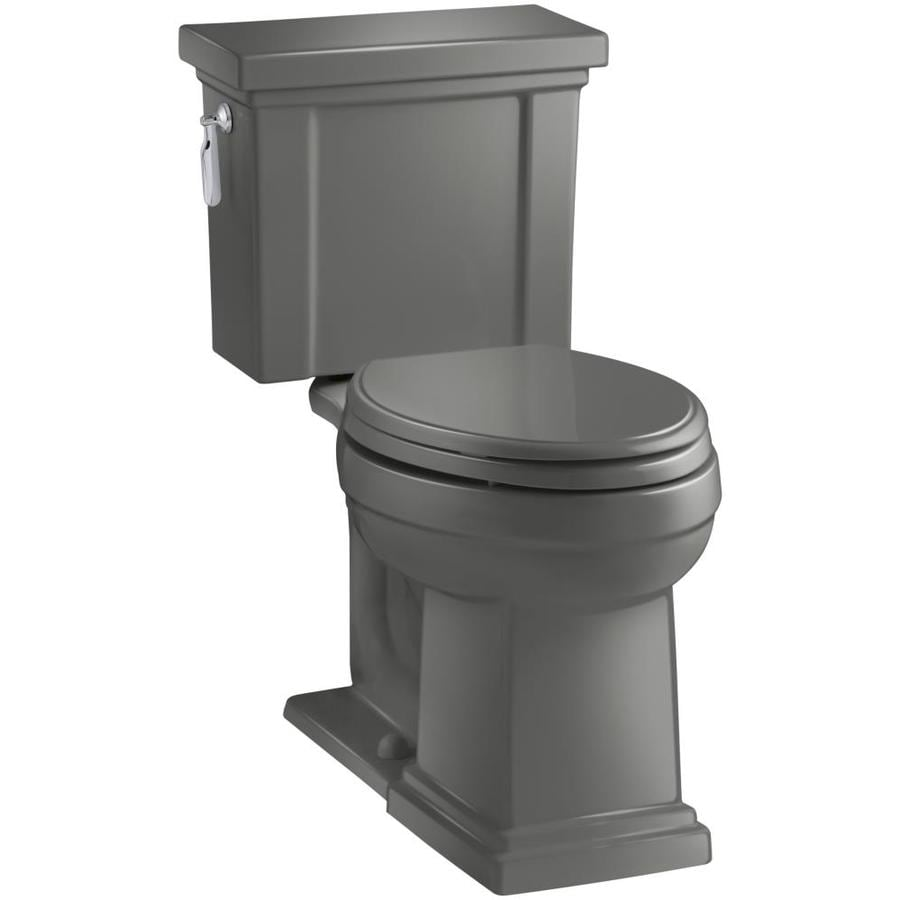 KOHLER Tresham 1.28-GPF (4.85-LPF) Thunder Grey WaterSense Elongated Chair Height 2-Piece Toilet