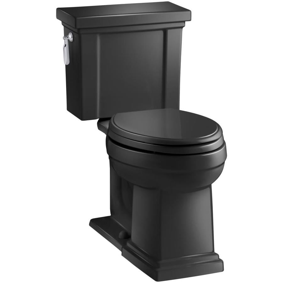 KOHLER Tresham Black Black WaterSense Labeled  Elongated Chair Height 2-piece Toilet 12-in Rough-In Size